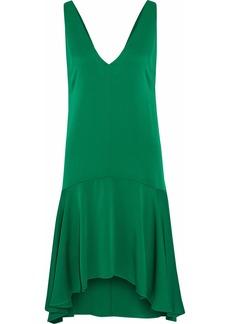 Milly Woman Asymmetric Ruffled Silk-blend Satin Dress Emerald