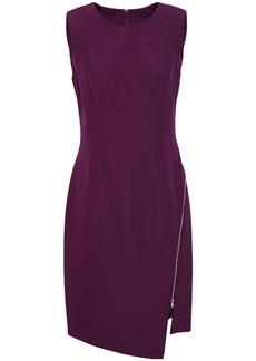 Milly Woman Asymmetric Zip-detailed Cady Mini Dress Purple