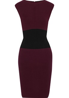 Milly Woman Bateau Two-tone Stretch-knit Dress Grape