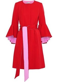 Milly Woman Belted Fluted Cady Coat Tomato Red