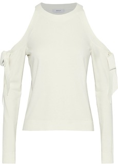 Milly Woman Cold-shoulder Bow-detailed Stretch-knit Sweater Off-white