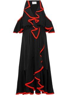Milly Woman Bryce Cold-shoulder Ruffled Stretch-silk Midi Dress Black