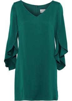 Milly Woman Butterfly Ruffled Silk-blend Mini Dress Teal