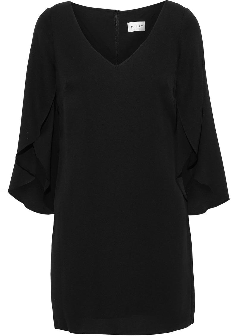 Milly Woman Butterfly Silk-blend Mini Dress Black