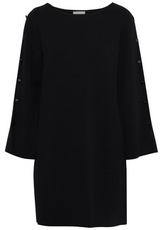 Milly Woman Button-embellished Cutout Stretch-crepe Mini Dress Black