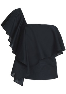 Milly Woman Cascade One-shoulder Ruffled Cotton-poplin Top Black