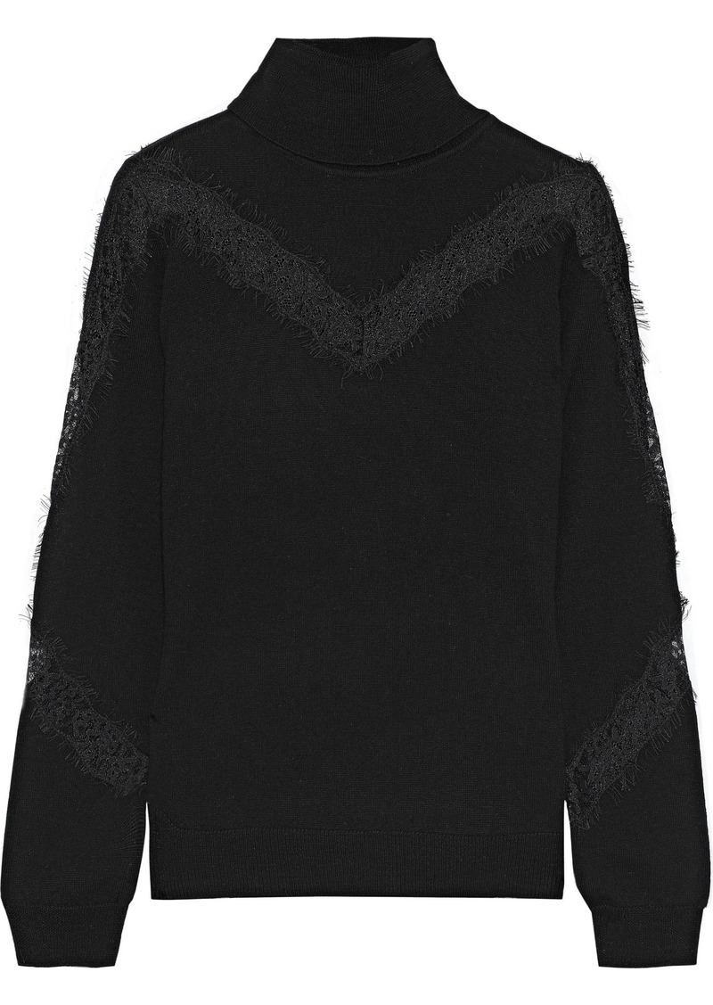 Milly Woman Lace-trimmed Wool Turtleneck Sweater Black