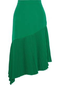 Milly Woman Charlotte Asymmetric Pleated Stretch-crepe Midi Skirt Green