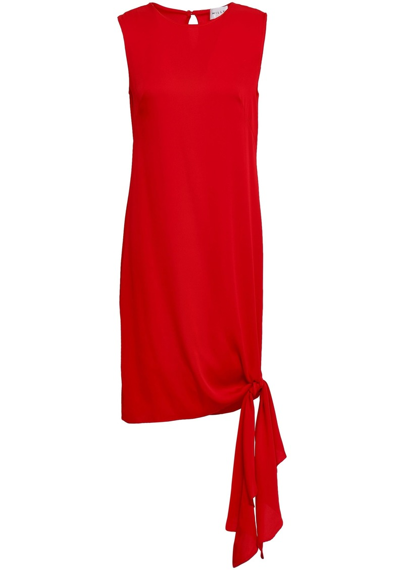 Milly Woman Chiara Knotted Stretch-silk Mini Dress Red