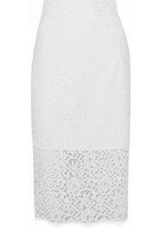 Milly Woman Classic Corded Lace Pencil Skirt White