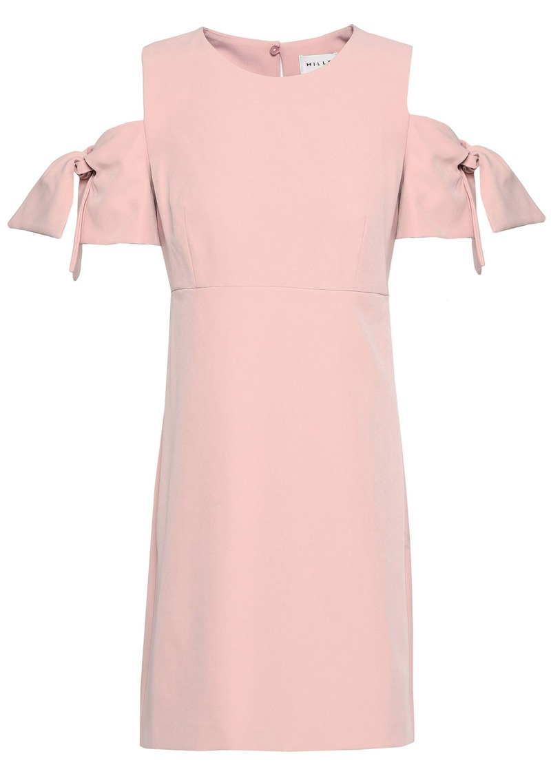 Milly Woman The Mod Cold-shoulder Knotted Stretch-crepe Mini Dress Baby Pink