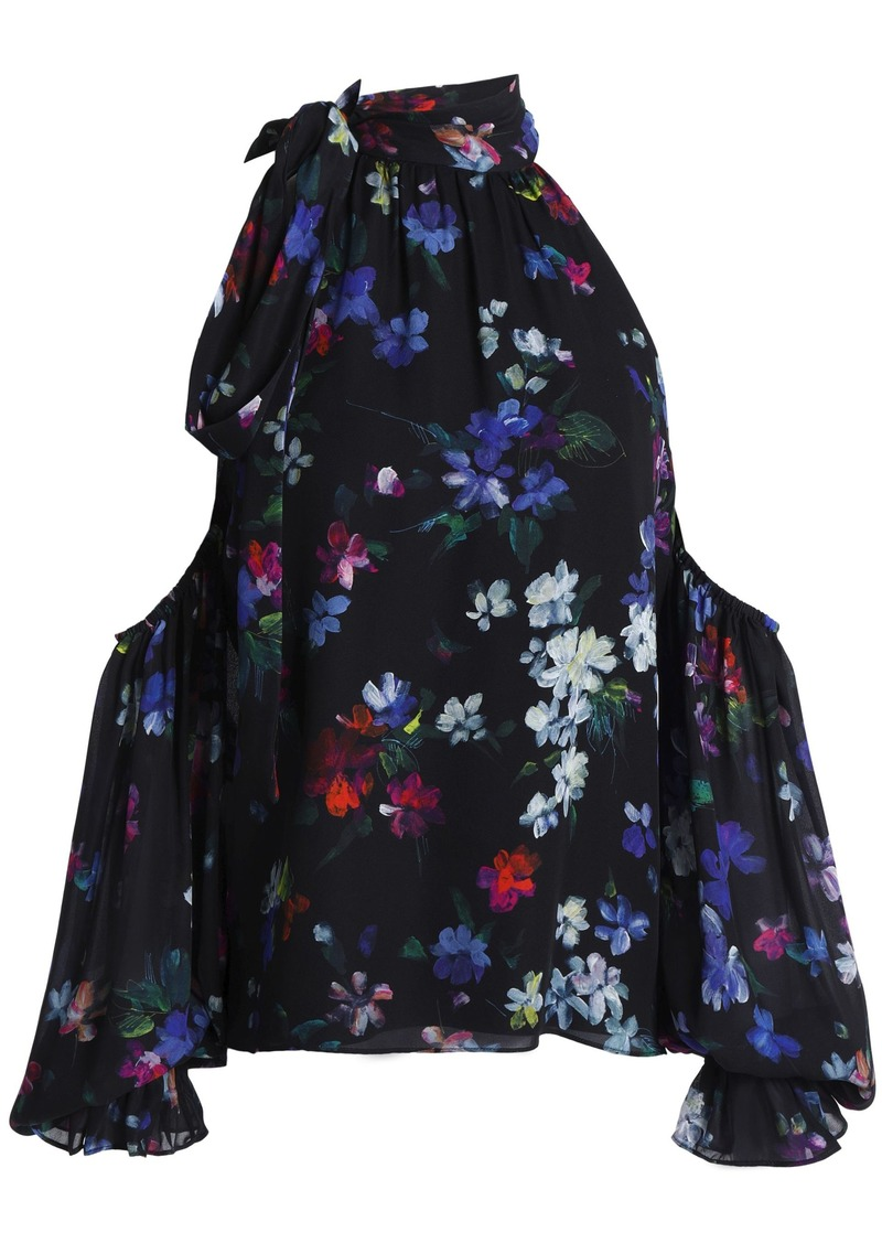 Milly Woman Cold-shoulder Floral-print Silk Top Black