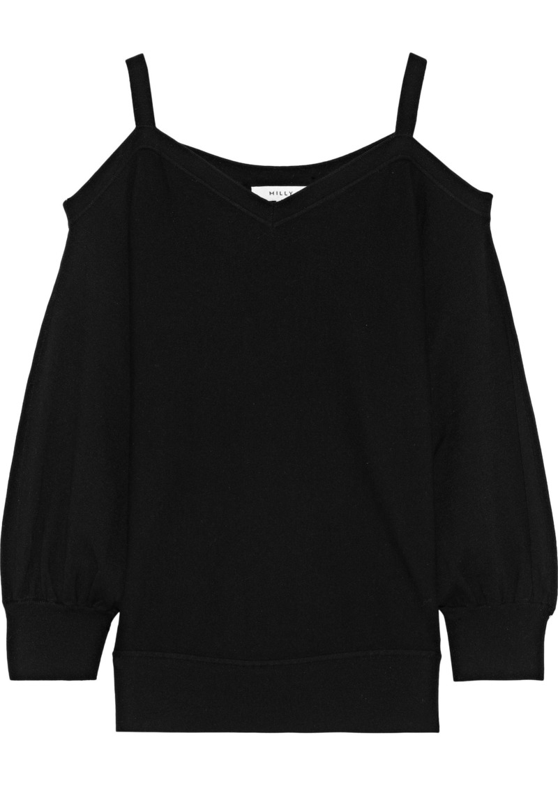 Milly Woman Cold-shoulder Knitted Top Black