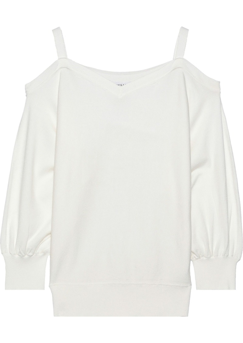 Milly Woman Cold-shoulder Knitted Top White