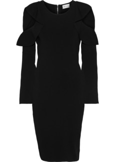 Milly Woman Cold-shoulder Ruffle-trimmed Stretch-knit Dress Black