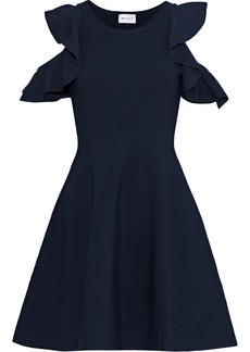 Milly Woman Cold-shoulder Ruffle-trimmed Stretch-knit Mini Dress Navy