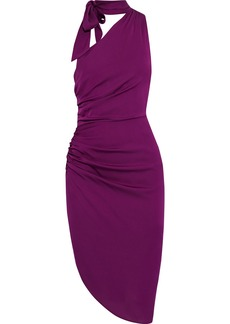 Milly Woman Coleen One-shoulder Tie-neck Ruched Silk-blend Dress Plum