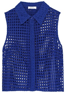 Milly Woman Cropped Broderie Anglaise Cotton-blend Shirt Cobalt Blue