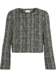Milly Woman Cropped Cotton-blend Tweed Jacket Black