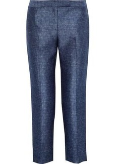 Milly Woman Cropped Marled Twill Tapered Pants Navy