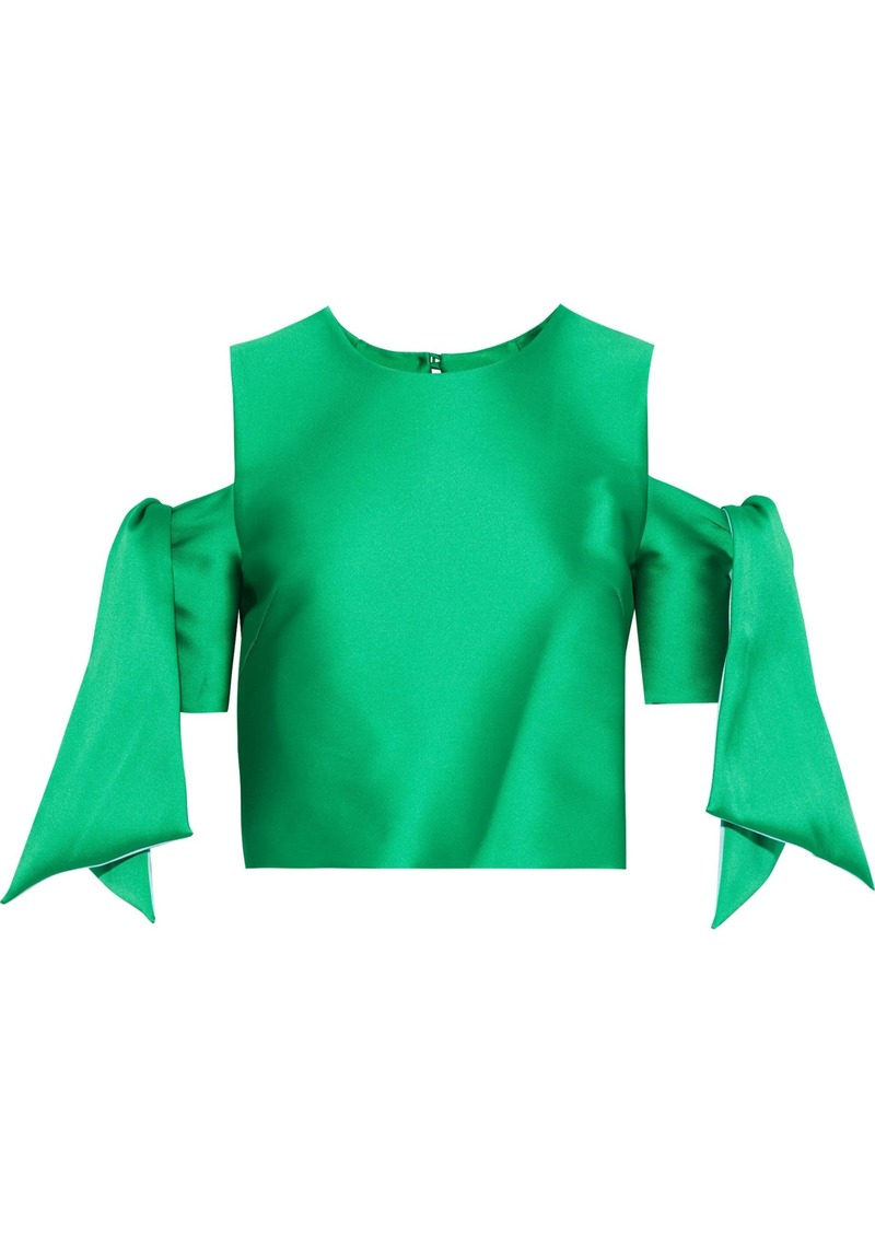 Milly Woman Ansley Cropped Cold-shoulder Duchesse-satin Top Bright Green