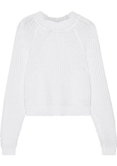 Milly Woman Cropped Ribbed Cotton-blend Sweater White