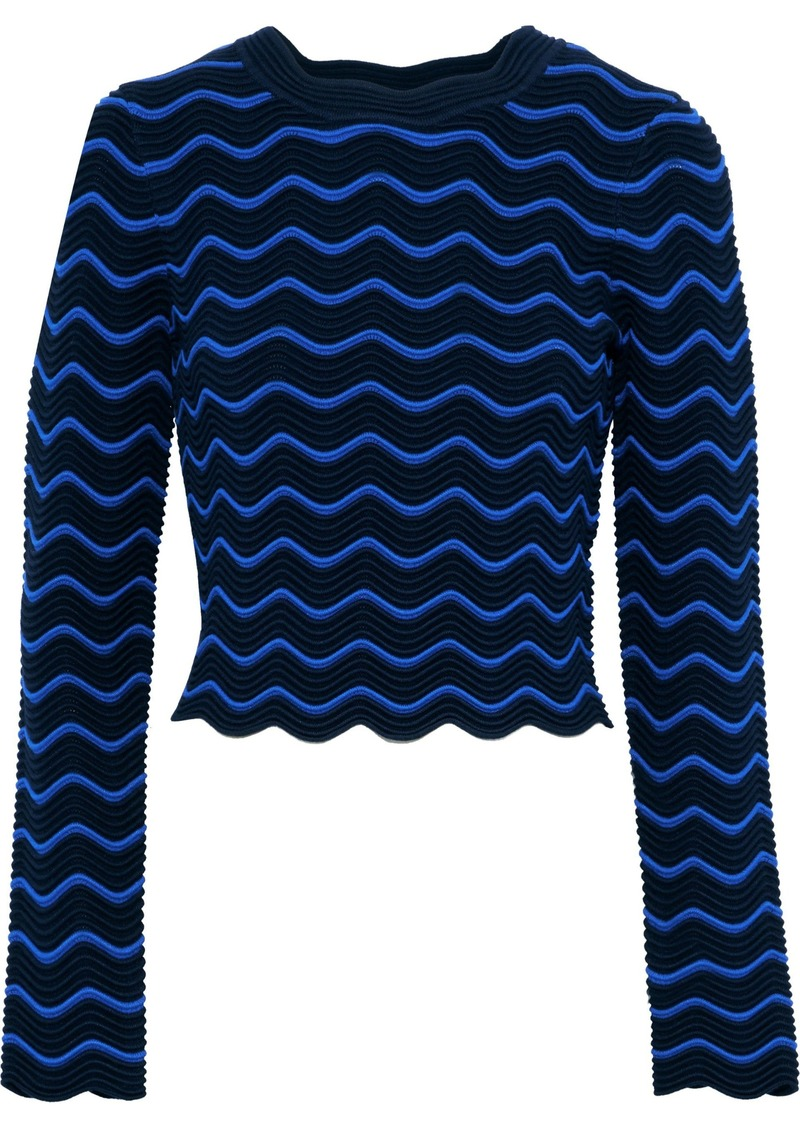 Milly Woman Cropped Striped Ribbed-knit Top Navy