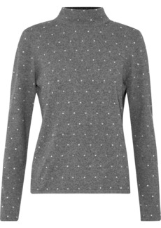 Milly Woman Crystal-embellished Mélange Kitted Turtleneck Sweater Gray