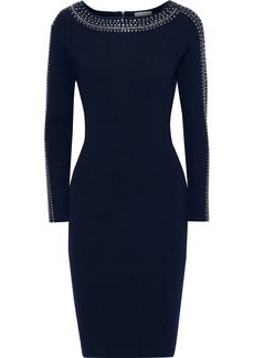 Milly Woman Crystal-embellished Stretch-knit Dress Navy