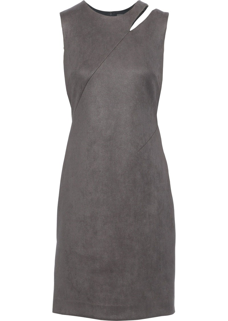 Milly Woman Cutout Faux Suede Mini Dress Gray