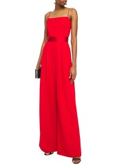 Milly Woman Cutout Satin-trimmed Stretch-cady Wide-leg Jumpsuit Red