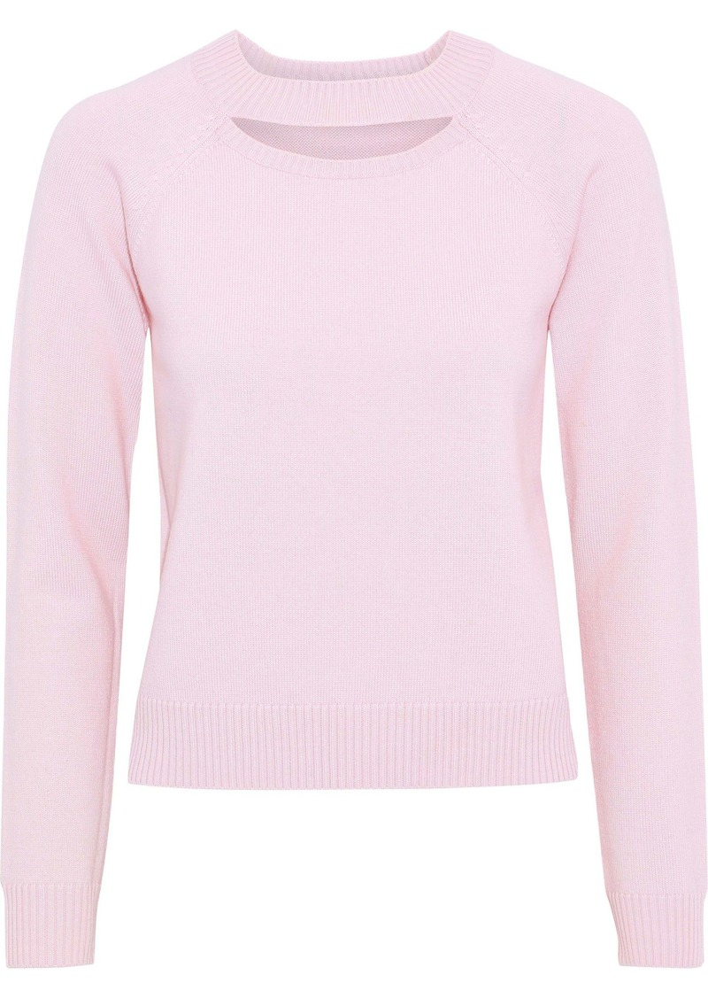 Milly Woman Cutout Wool Sweater Baby Pink