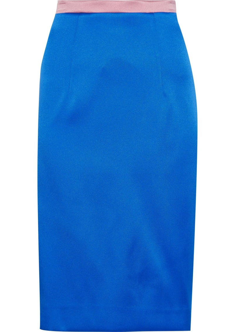 Milly Woman Two-tone Duchesse-satin Pencil Skirt Bright Blue