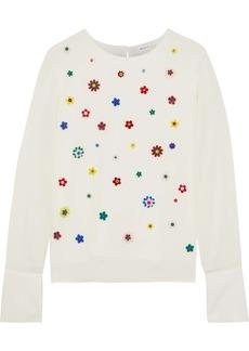 Milly Woman Eleanore Floral-appliquéd Stretch-silk Top Ecru