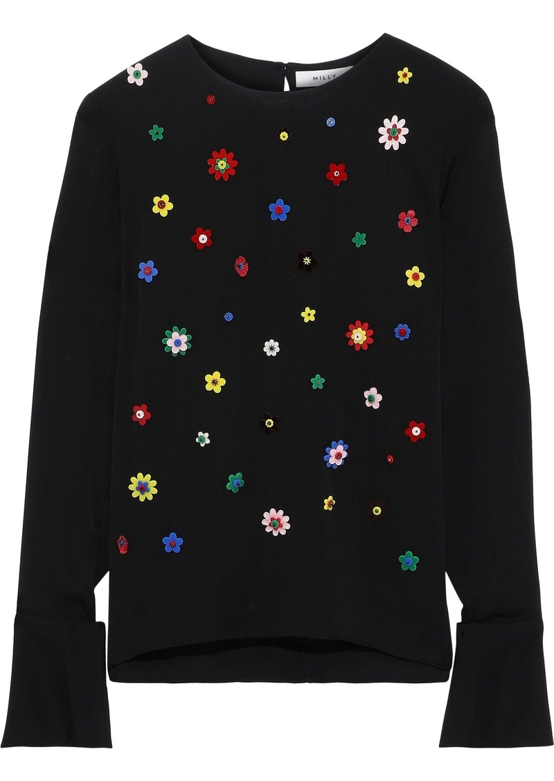 Milly Woman Eleanore Floral-appliquéd Stretch-silk Top Black