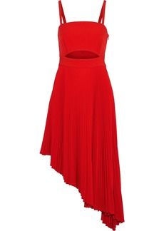 Milly Woman Eliza Asymmetric Cutout Stretch-crepe Midi Dress Red