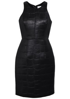 Milly Woman Embossed Coated Scuba Mini Dress Black