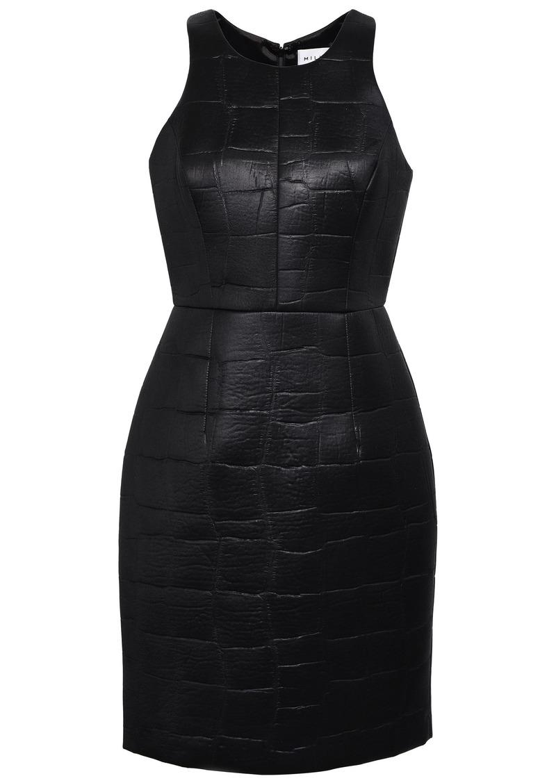 Milly Woman Embossed Coated Scuba Mini Dress Black