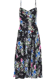 Milly Woman Emily Button-detailed Floral-print Silk-chiffon Slip Dress Black