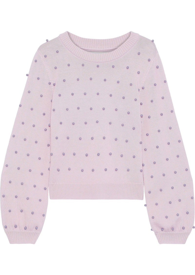 Milly Woman Faux Pearl-embellished Wool Sweater Lilac