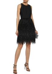 Milly Woman Blair Feather-paneled Cady Mini Dress Black