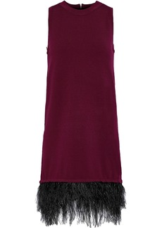 Milly Woman Feather-trimmed Stretch-knit Mini Dress Claret