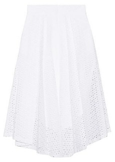 Milly Woman Fiona Broderie Anglaise Cotton-poplin Midi Skirt White