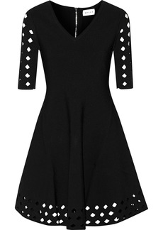 Milly Woman Flared Cutout Ribbed-knit Mini Dress Black