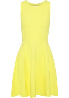 Milly Woman Flared Knitted Mini Dress Bright Yellow