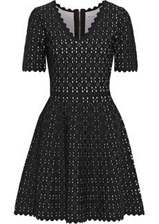 Milly Woman Flared Laser-cut Ponte Mini Dress Black