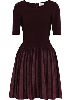 Milly Woman Flared Metallic-trimmed Ponte Mini Dress Merlot