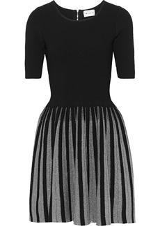 Milly Woman Flared Metallic-trimmed Ponte Mini Dress Black