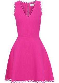 Milly Woman Flared Scalloped Cutout Stretch-knit Mini Dress Bright Pink