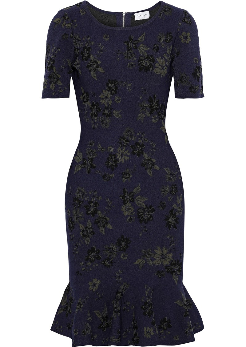 Milly Woman Fluted Floral-jacquard Dress Indigo